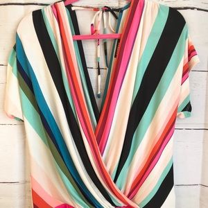 EXPRESS Banded Multi-colored Top w/ tie back. NWOT